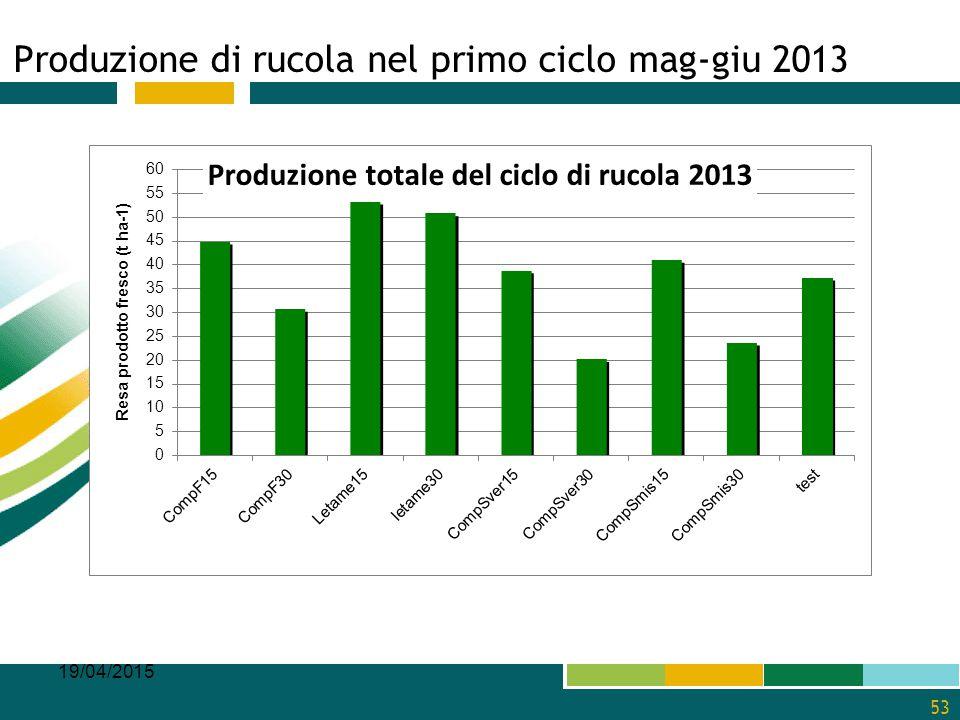 Produzione di rucola nel primo ciclo mag-giu 2013