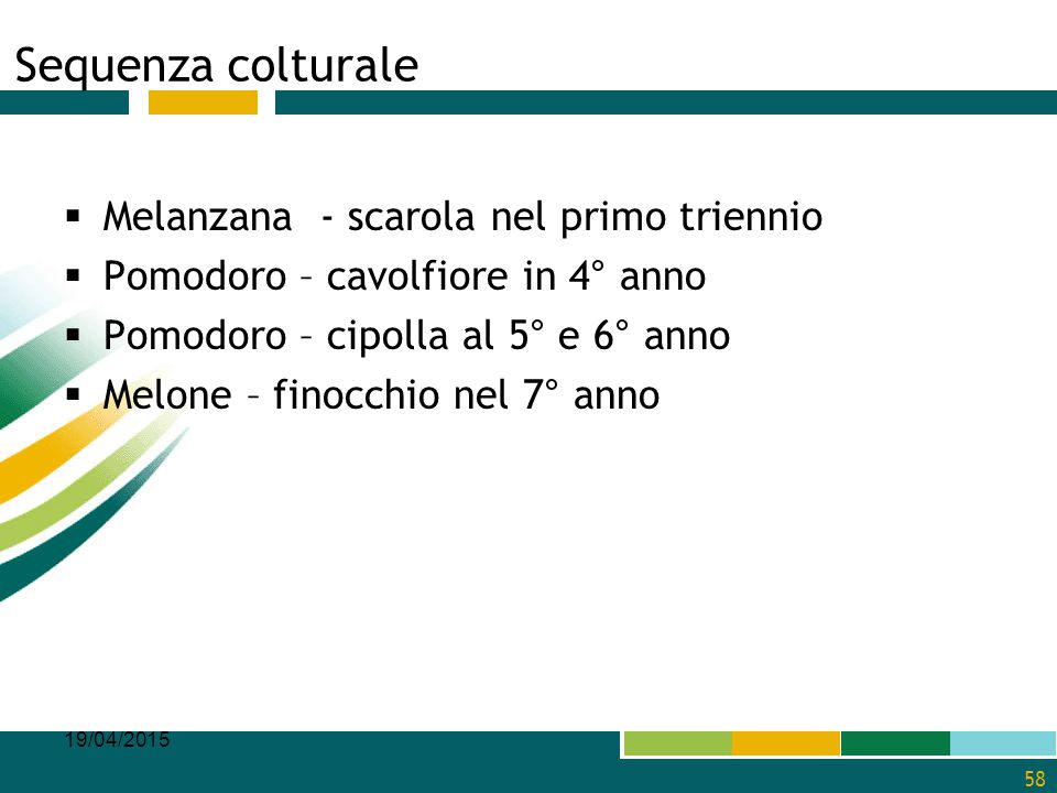 Sequenza colturale Melanzana - scarola nel primo triennio