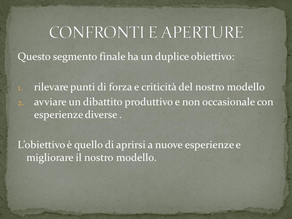 CONFRONTI E APERTURE Questo segmento finale ha un duplice obiettivo: