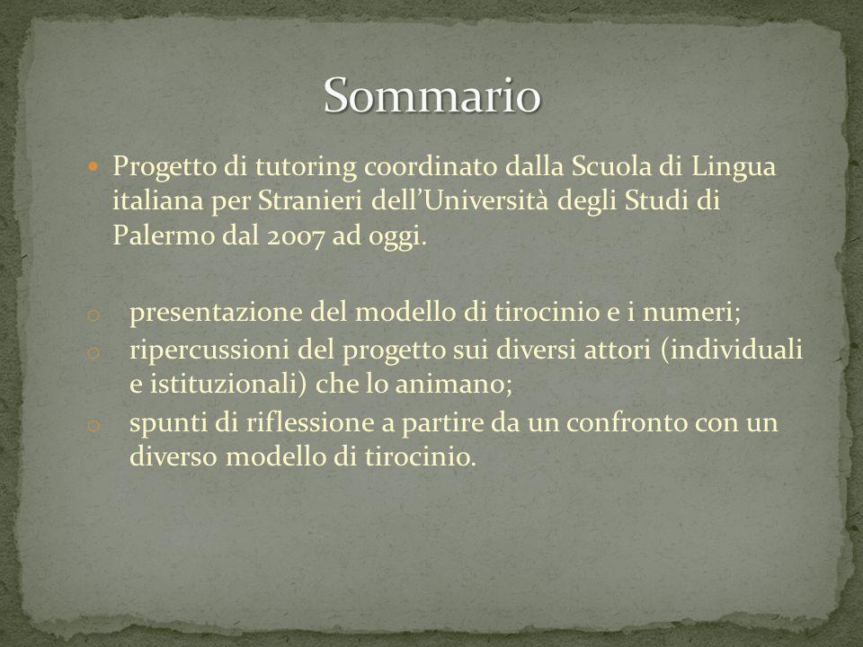 Sommario Progetto di tutoring coordinato dalla Scuola di Lingua italiana per Stranieri dell'Università degli Studi di Palermo dal 2007 ad oggi.