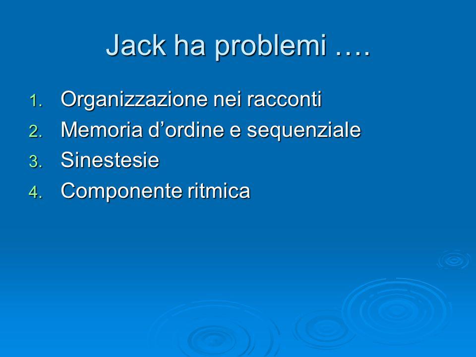 Jack ha problemi …. Organizzazione nei racconti