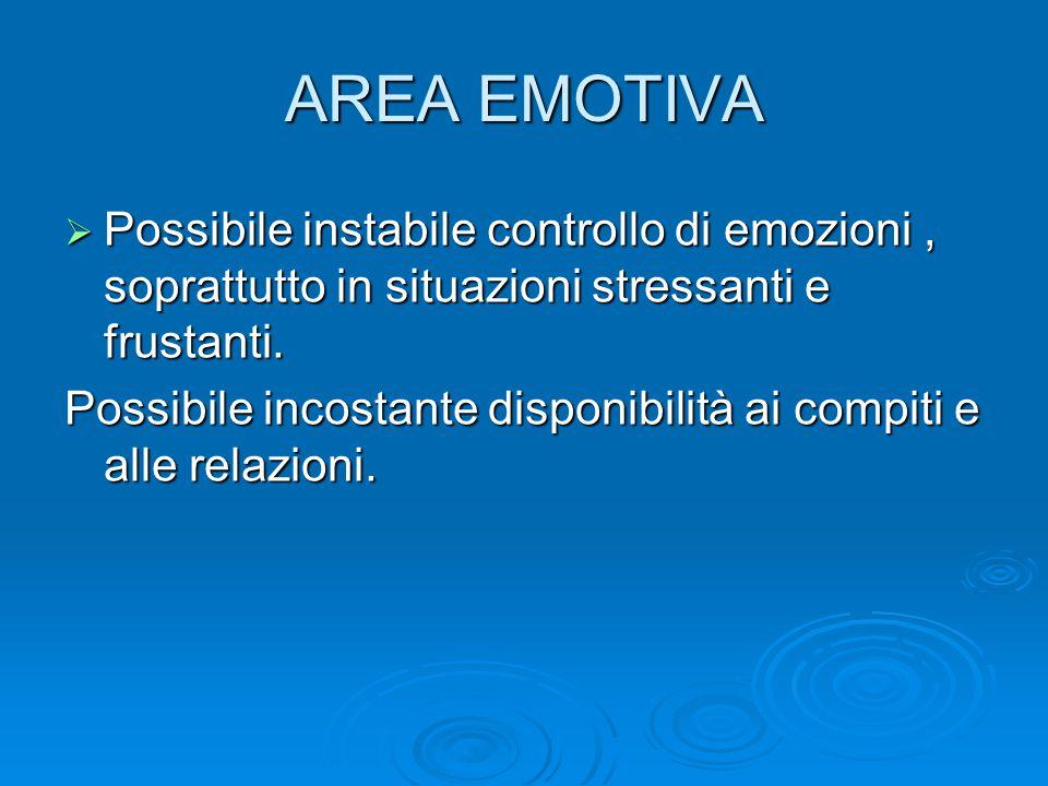 AREA EMOTIVA Possibile instabile controllo di emozioni , soprattutto in situazioni stressanti e frustanti.
