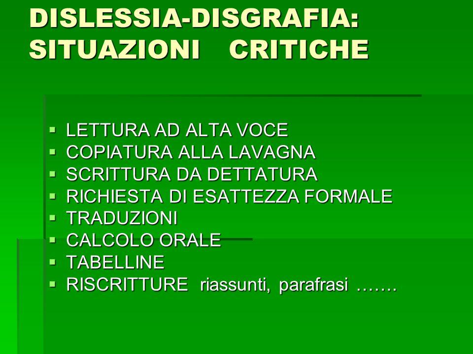 DISLESSIA-DISGRAFIA: SITUAZIONI CRITICHE