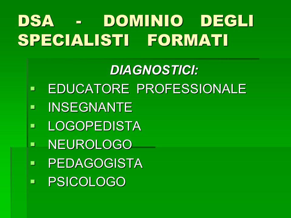 DSA - DOMINIO DEGLI SPECIALISTI FORMATI