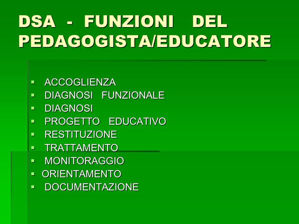 DSA - FUNZIONI DEL PEDAGOGISTA/EDUCATORE