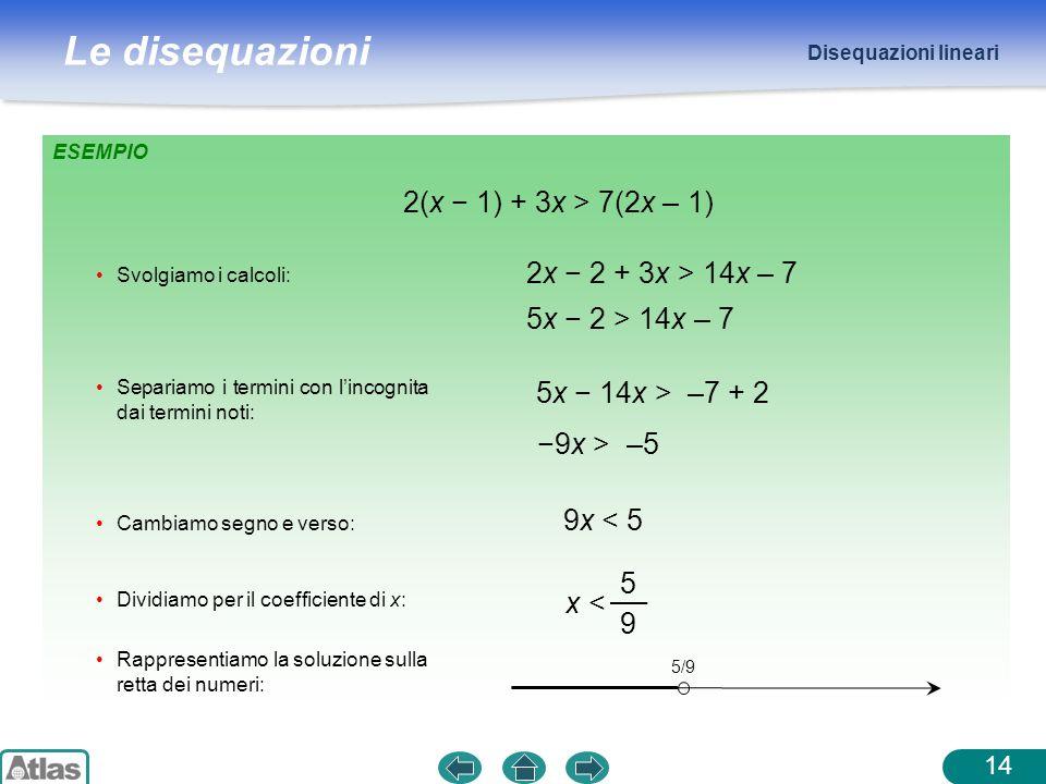 2(x − 1) + 3x > 7(2x – 1) 2x − 2 + 3x > 14x – 7