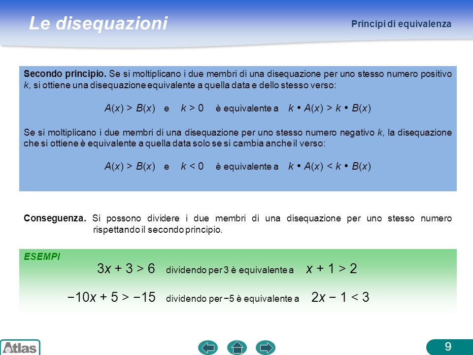 3x + 3 > 6 dividendo per 3 è equivalente a x + 1 > 2