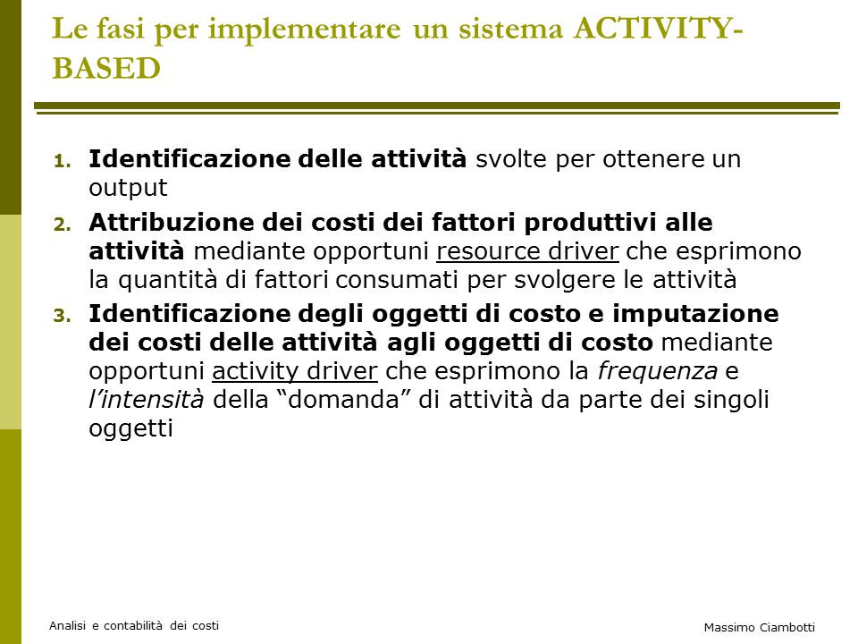Le fasi per implementare un sistema ACTIVITY-BASED