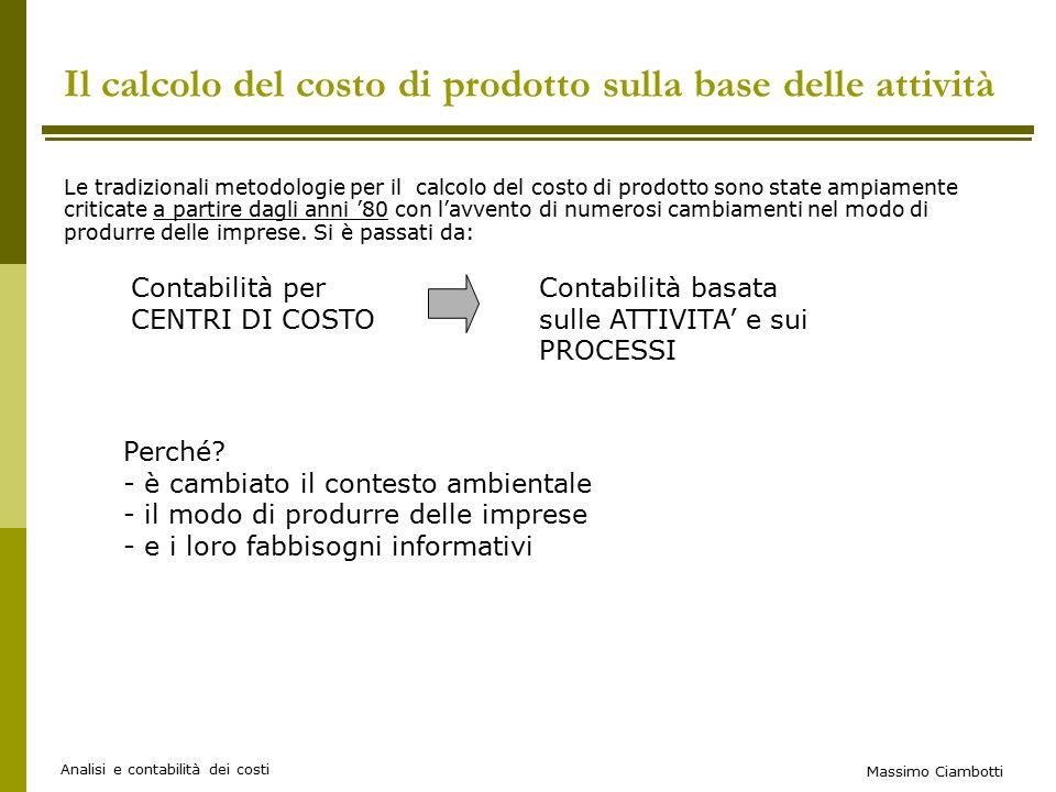 Il calcolo del costo di prodotto sulla base delle attività