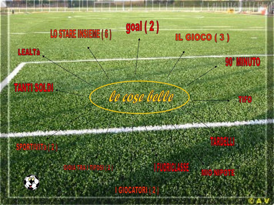 goal ( 2 ) LO STARE INSIEME ( 6 ) IL GIOCO ( 3 ) LEALTà. 90° MINUTO. TANTI SOLDI. le cose belle.