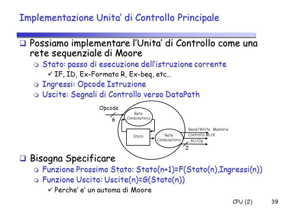Implementazione Unita' di Controllo Principale