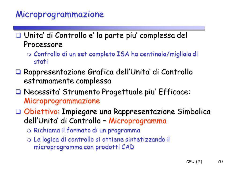 Microprogrammazione Unita' di Controllo e' la parte piu' complessa del Processore. Controllo di un set completo ISA ha centinaia/migliaia di stati.
