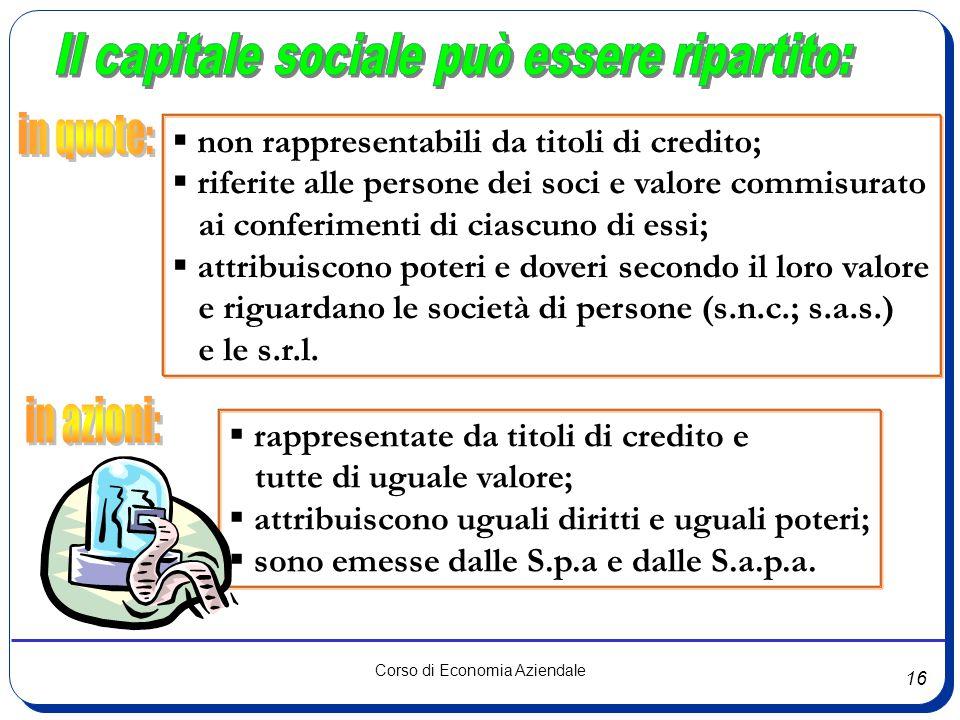 Il capitale sociale può essere ripartito: