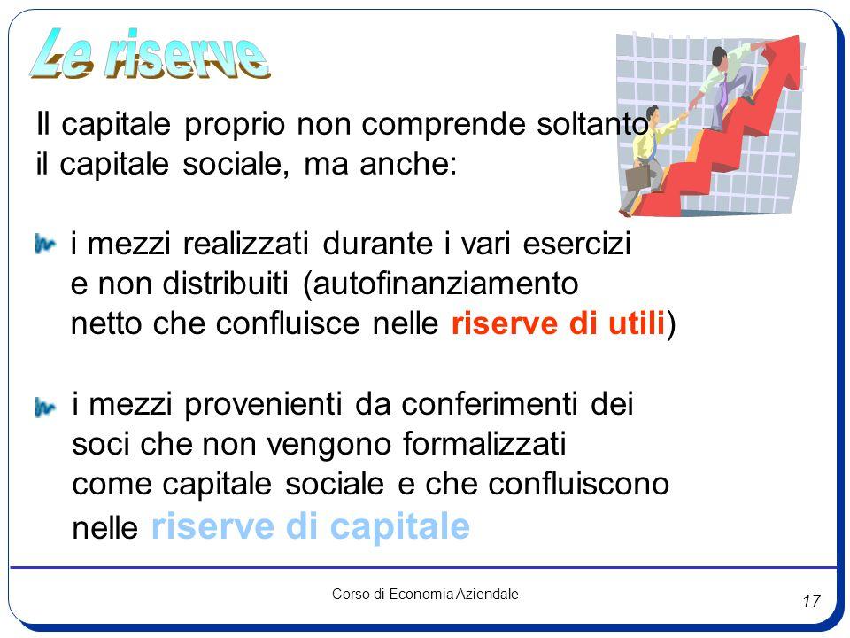 Le riserve Il capitale proprio non comprende soltanto. il capitale sociale, ma anche: i mezzi realizzati durante i vari esercizi.