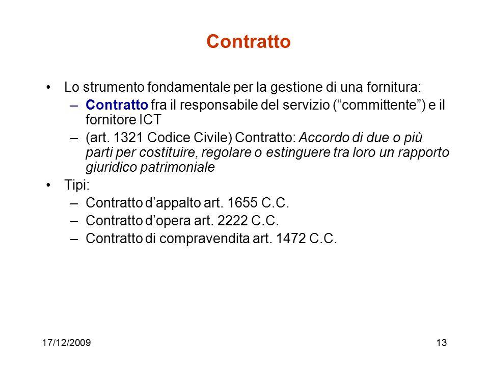 Contratto Lo strumento fondamentale per la gestione di una fornitura: