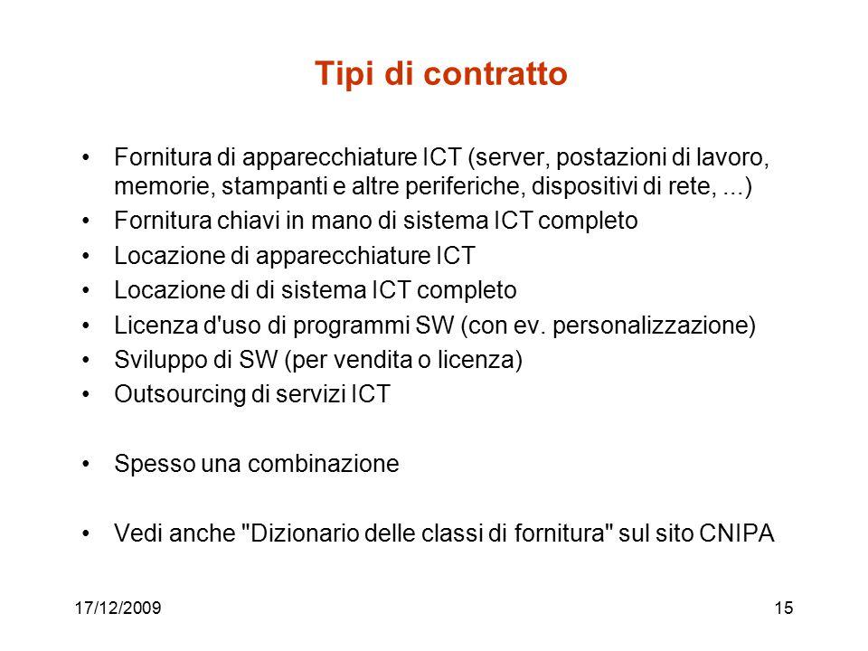 Tipi di contratto Fornitura di apparecchiature ICT (server, postazioni di lavoro, memorie, stampanti e altre periferiche, dispositivi di rete, ...)