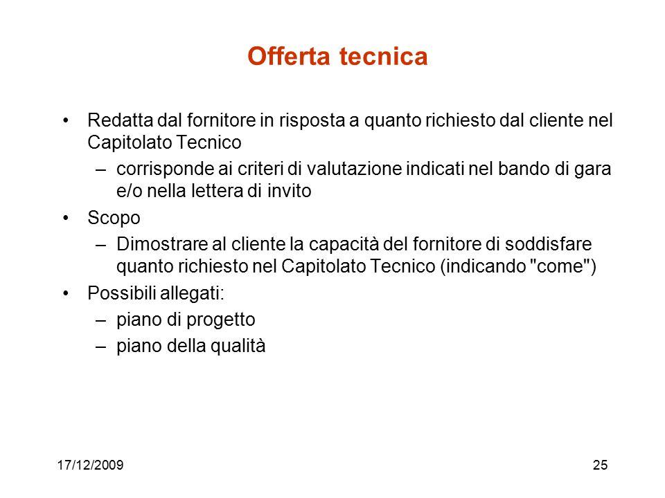 Offerta tecnica Redatta dal fornitore in risposta a quanto richiesto dal cliente nel Capitolato Tecnico.