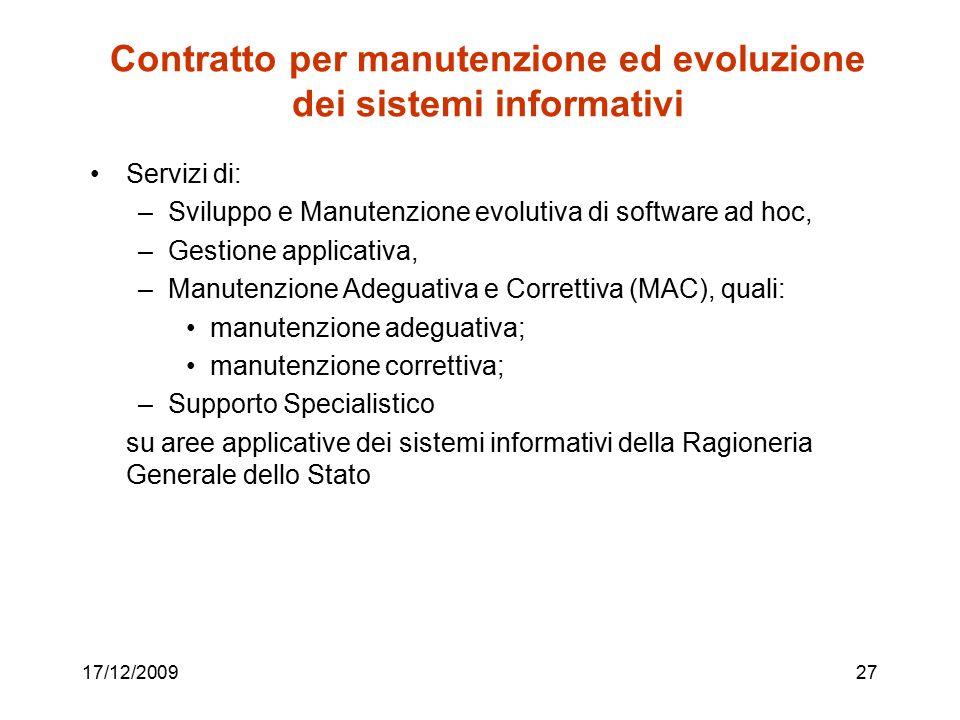 Contratto per manutenzione ed evoluzione dei sistemi informativi