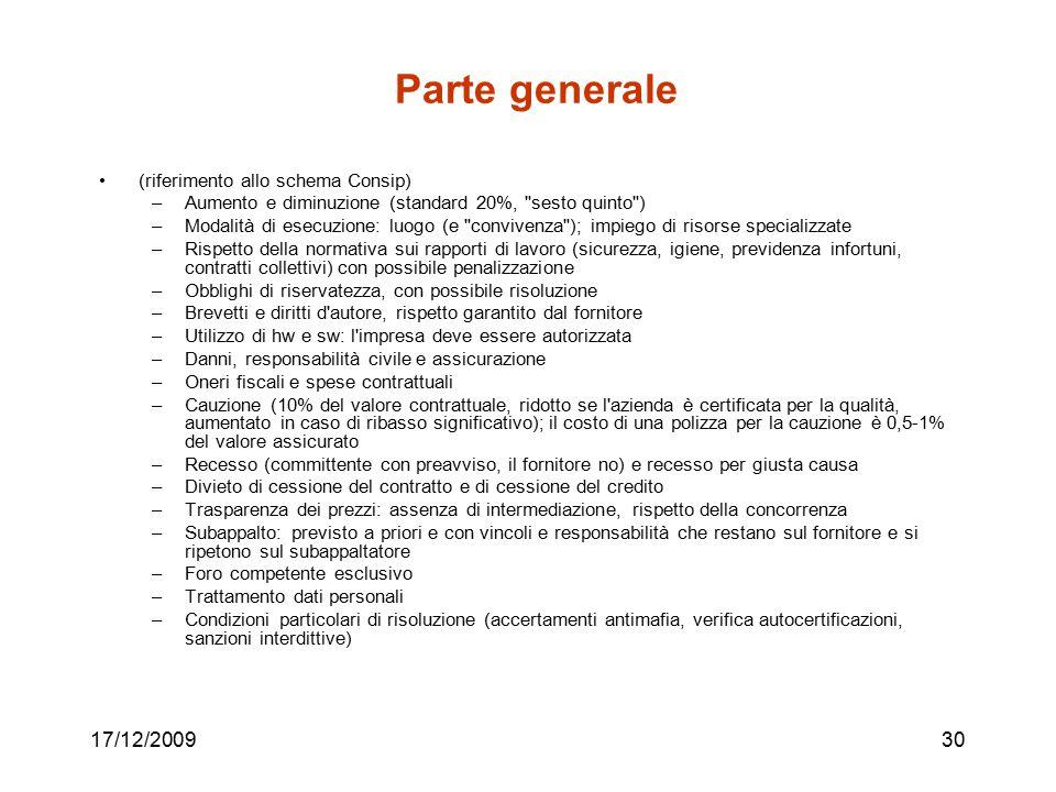 Parte generale 17/12/2009 (riferimento allo schema Consip)