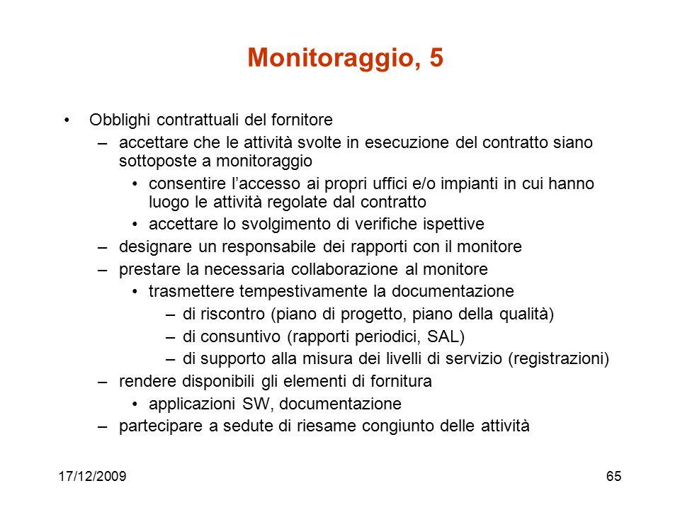 Monitoraggio, 5 Obblighi contrattuali del fornitore
