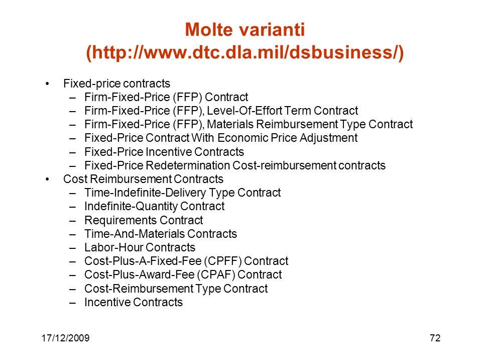 Molte varianti (http://www.dtc.dla.mil/dsbusiness/)