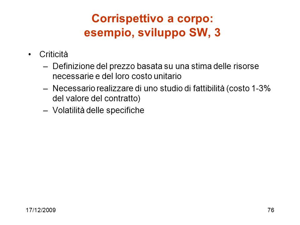 Corrispettivo a corpo: esempio, sviluppo SW, 3