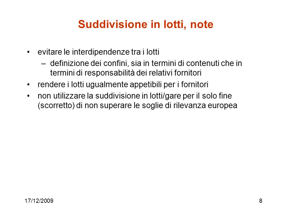 Suddivisione in lotti, note