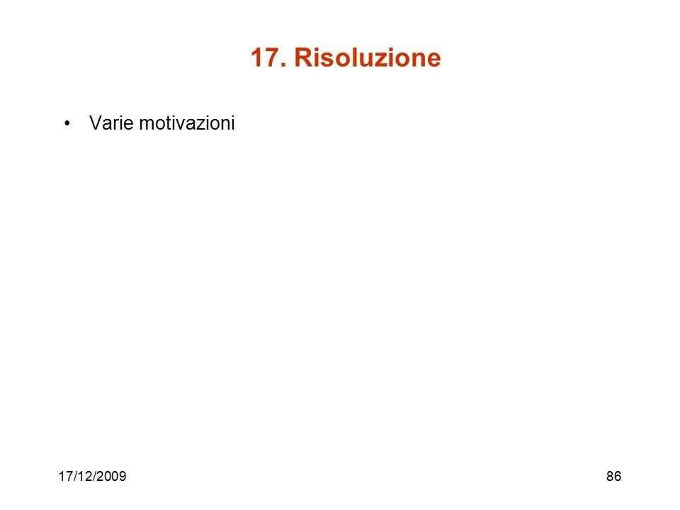 17. Risoluzione Varie motivazioni 17/12/2009