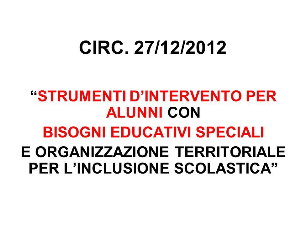 CIRC. 27/12/2012 STRUMENTI D'INTERVENTO PER ALUNNI CON
