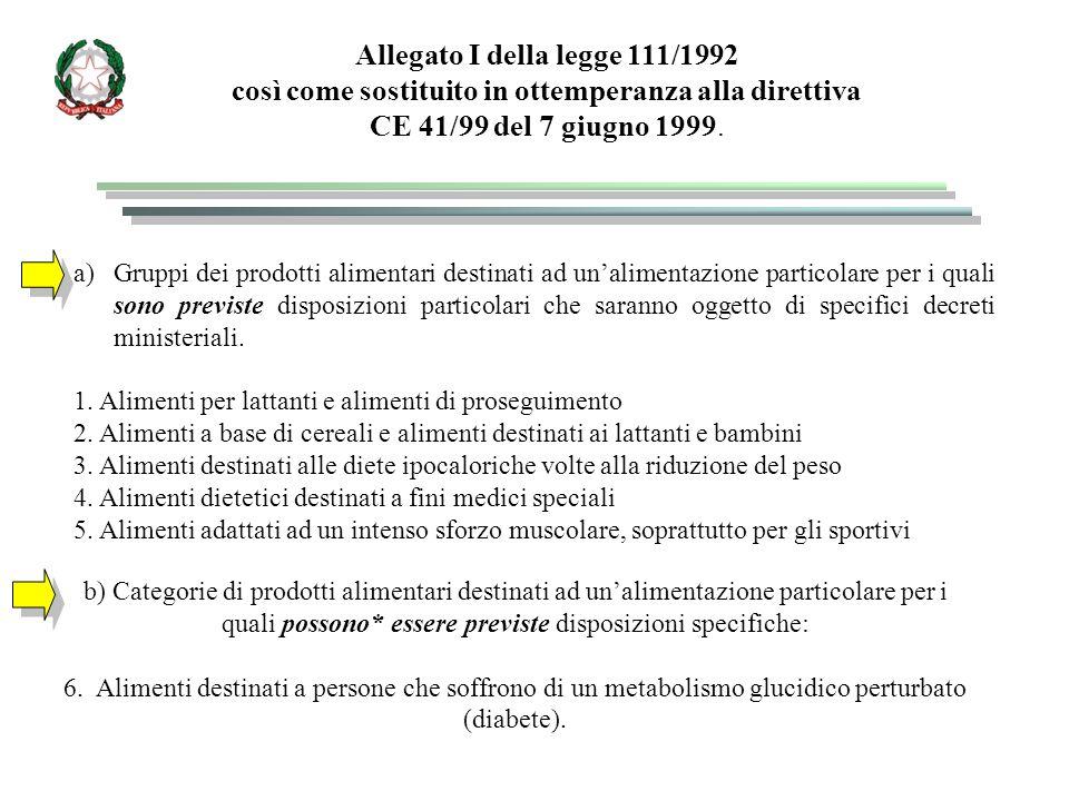 Allegato I della legge 111/1992