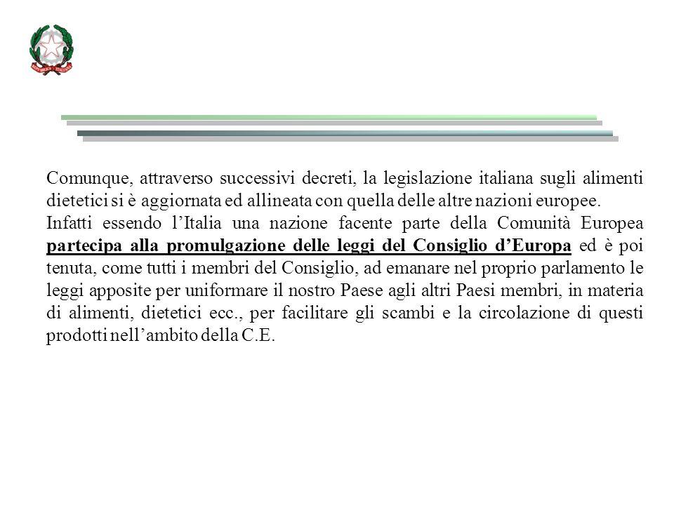 Comunque, attraverso successivi decreti, la legislazione italiana sugli alimenti dietetici si è aggiornata ed allineata con quella delle altre nazioni europee.