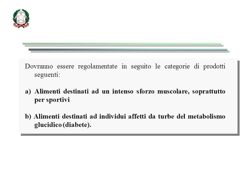 Dovranno essere regolamentate in seguito le categorie di prodotti seguenti: