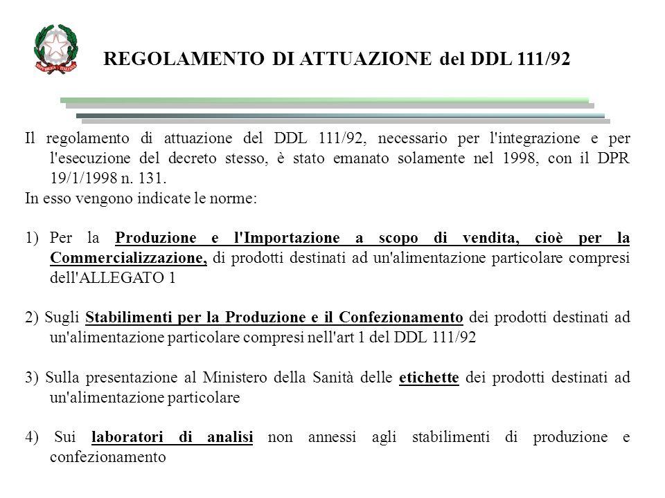 REGOLAMENTO DI ATTUAZIONE del DDL 111/92
