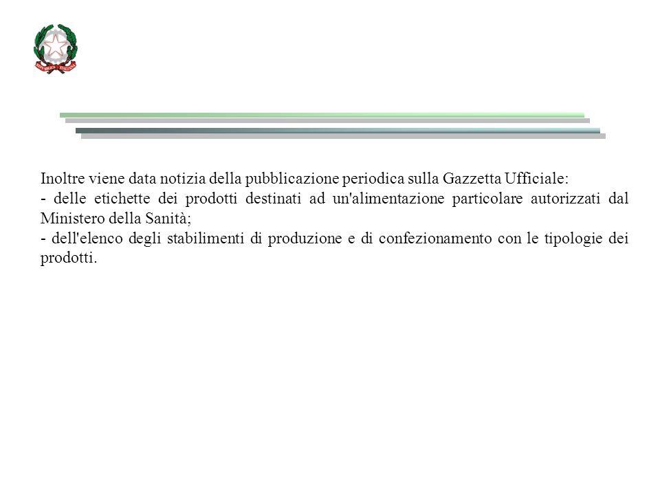 Inoltre viene data notizia della pubblicazione periodica sulla Gazzetta Ufficiale: