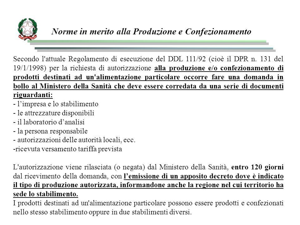 Norme in merito alla Produzione e Confezionamento