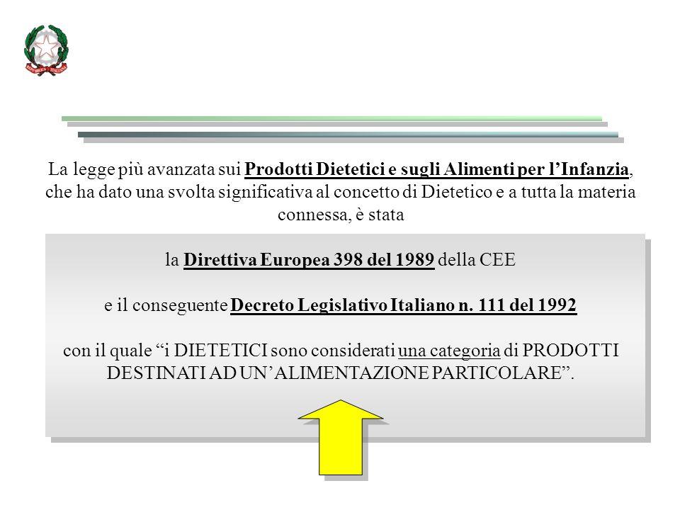 la Direttiva Europea 398 del 1989 della CEE