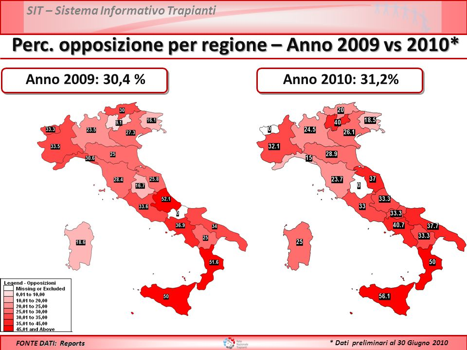 Perc. opposizione per regione – Anno 2009 vs 2010*