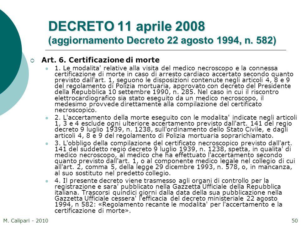 DECRETO 11 aprile 2008 (aggiornamento Decreto 22 agosto 1994, n. 582)