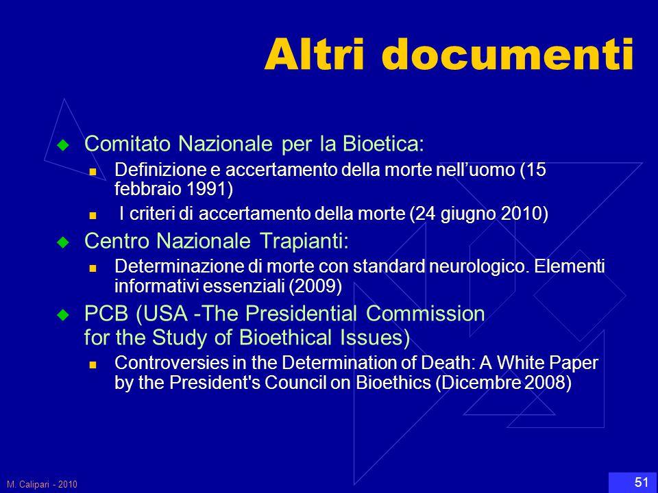 Altri documenti Comitato Nazionale per la Bioetica: