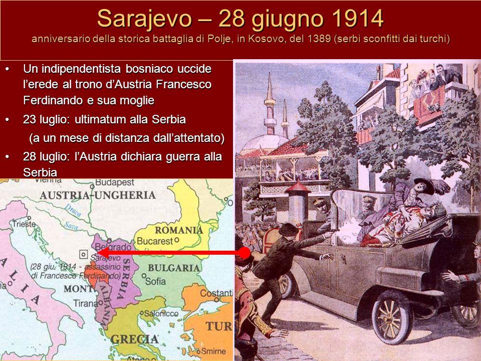 Sarajevo – 28 giugno 1914 anniversario della storica battaglia di Polje, in Kosovo, del 1389 (serbi sconfitti dai turchi)
