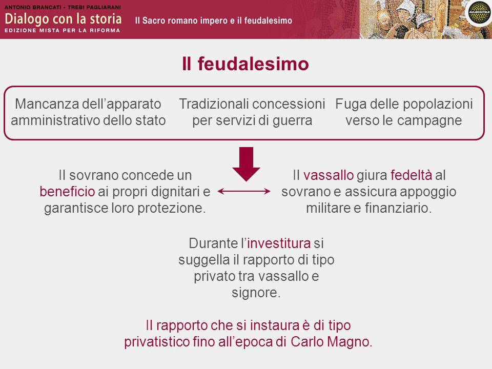 Il feudalesimo Mancanza dell'apparato amministrativo dello stato