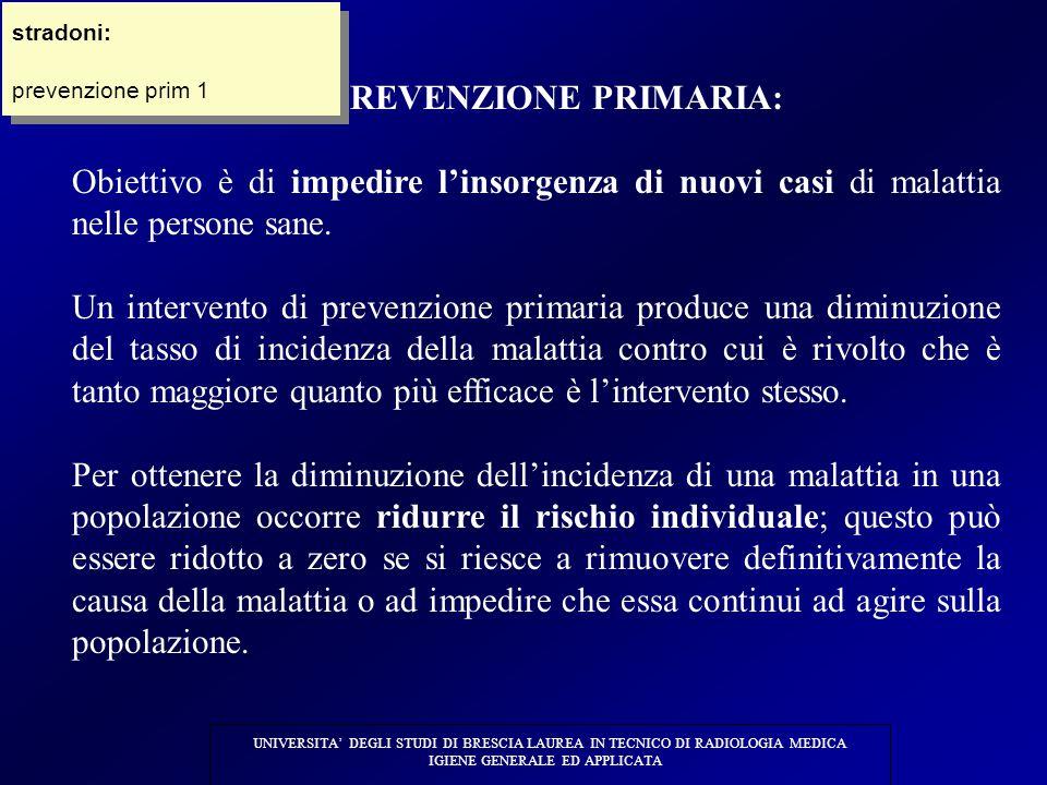 1) PREVENZIONE PRIMARIA: