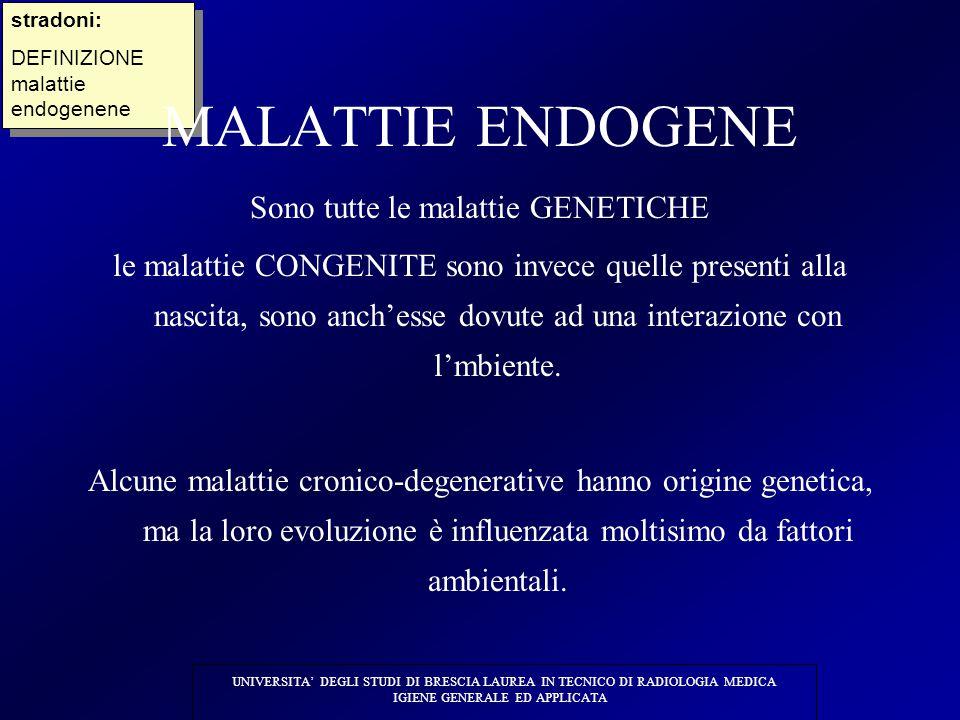 MALATTIE ENDOGENE Sono tutte le malattie GENETICHE