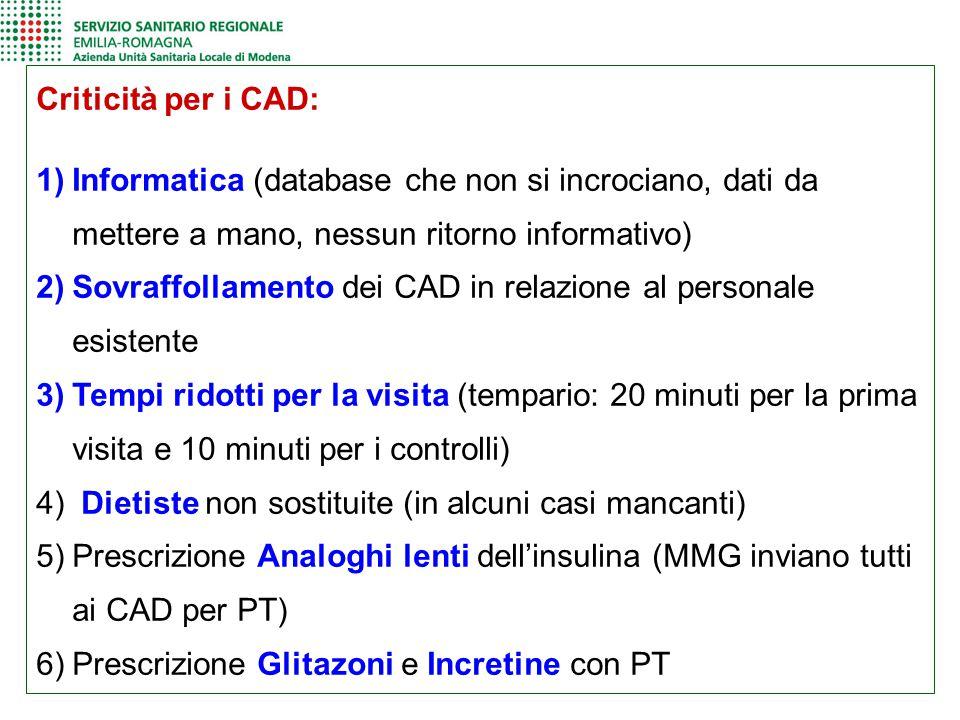 Criticità per i CAD: Informatica (database che non si incrociano, dati da mettere a mano, nessun ritorno informativo)
