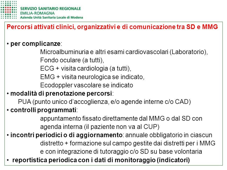 Percorsi attivati clinici, organizzativi e di comunicazione tra SD e MMG