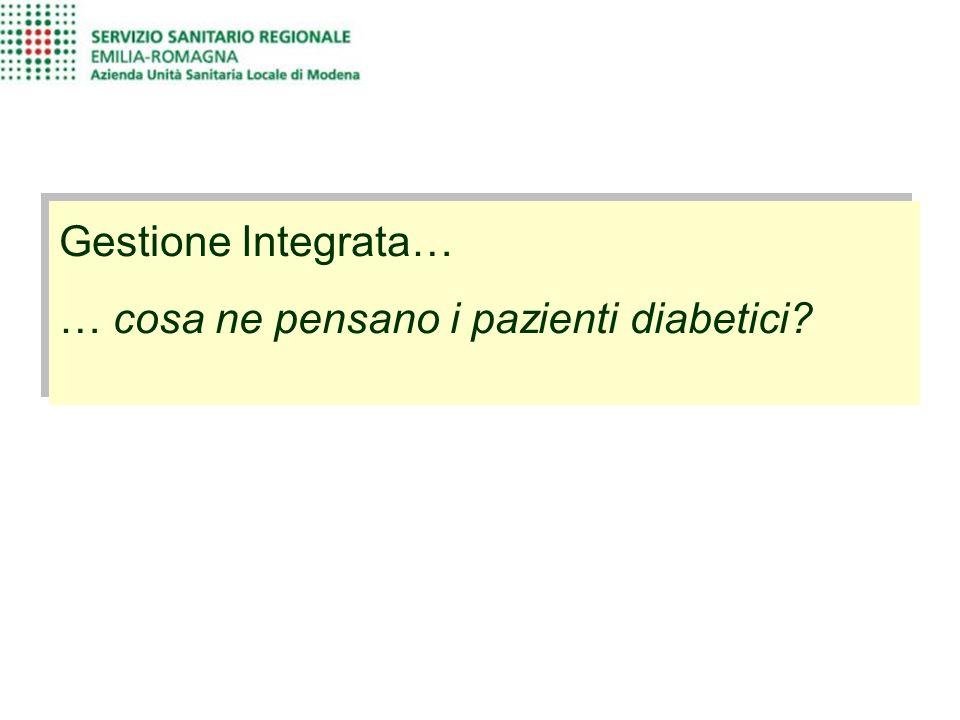 Gestione Integrata… … cosa ne pensano i pazienti diabetici