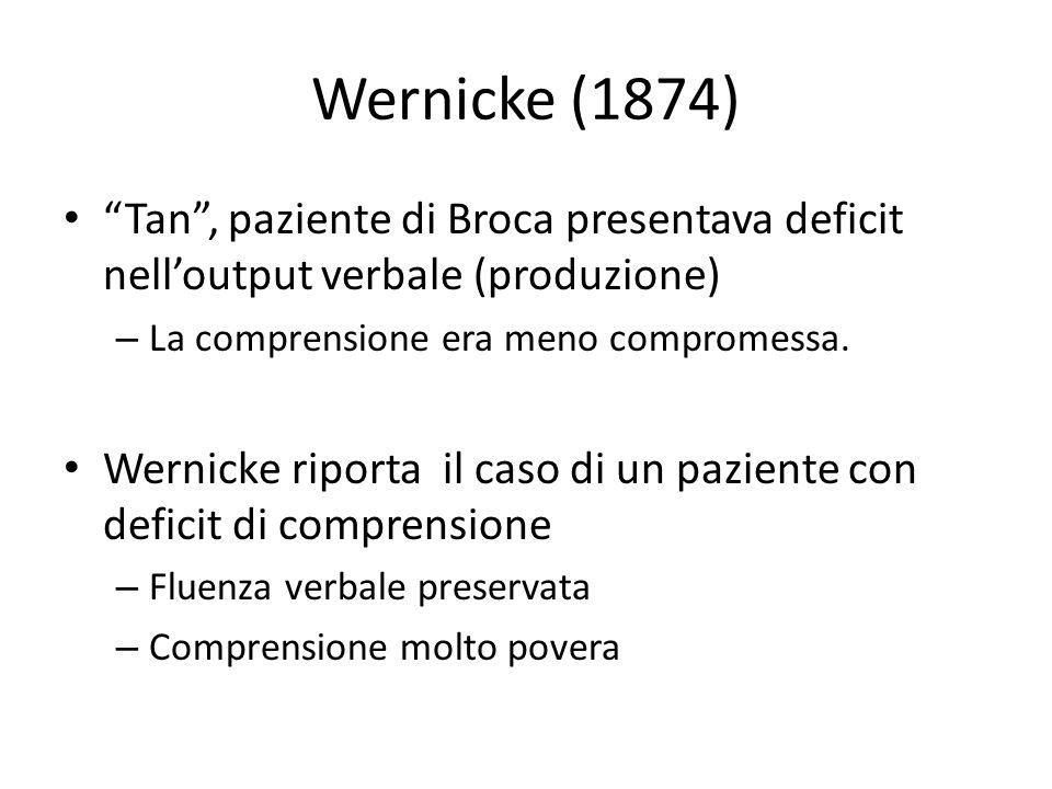Wernicke (1874) Tan , paziente di Broca presentava deficit nell'output verbale (produzione) La comprensione era meno compromessa.