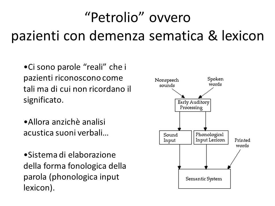 Petrolio ovvero pazienti con demenza sematica & lexicon