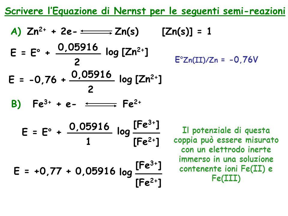 Scrivere l'Equazione di Nernst per le seguenti semi-reazioni