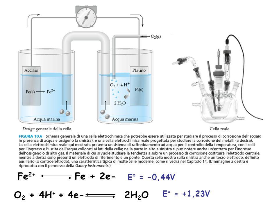 Fe2+ Fe + 2e- E° = -0,44V O2 + 4H+ + 4e- 2H2O E° = +1,23V